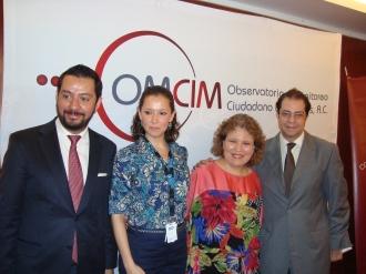 Jorge Rendón/Cosmociudadano, Georgina de la Fuente/PNUD, Regina Santiago/OMCIM, Manuel Guerrero/UIA